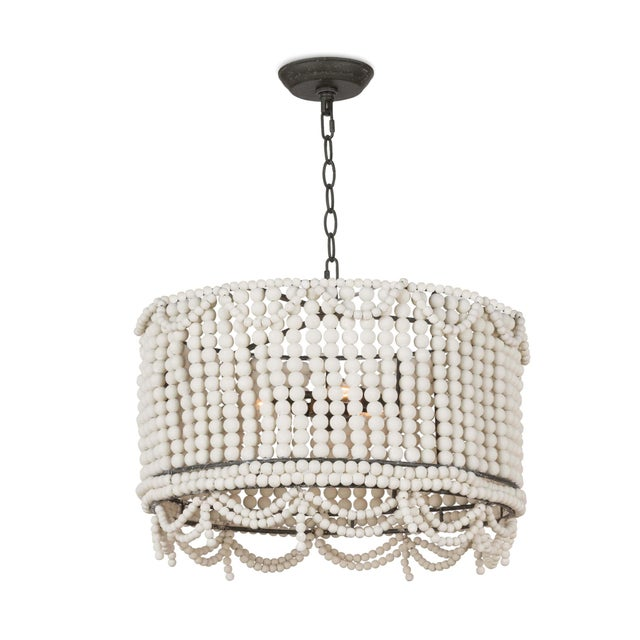 Wood Malibu Drum Pendant in Weathered White For Sale - Image 7 of 7