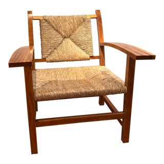 1990s Japanese Wood & Wicker Arm Chair