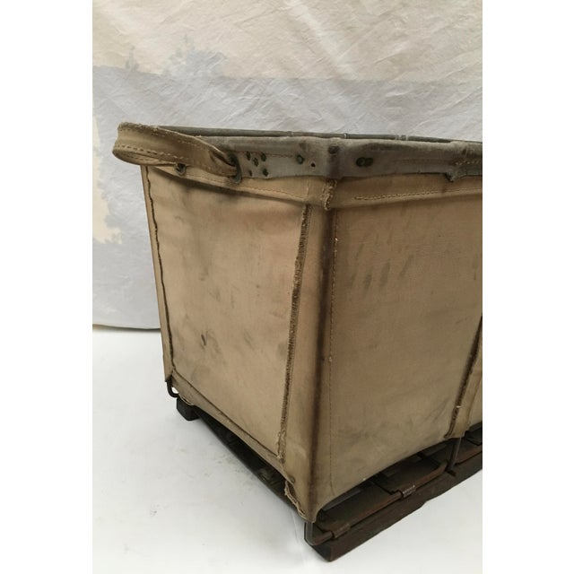 Vintage McElmoyl Industrial Canvas Laundry Basket For Sale In Dallas - Image 6 of 11