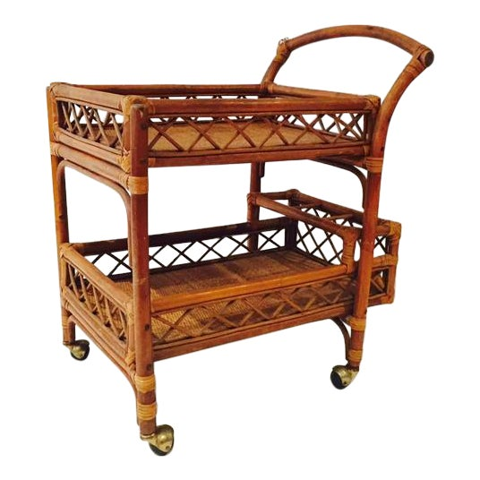 Mid-Century Bamboo & Cane Bar Cart 2 Tier - Image 1 of 8