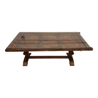 Vintage Gothic Recycled Door Dining Table With Glass Top For Sale
