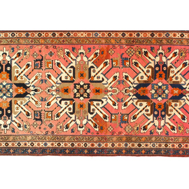 Late 19th Century Antique Russian Eagle Kazak Area Rug - 4′8″ × 9′9″ For Sale - Image 4 of 5