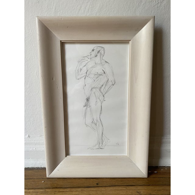 Vintage graphite sketch of a male nude figure, signed SFB (unknown).