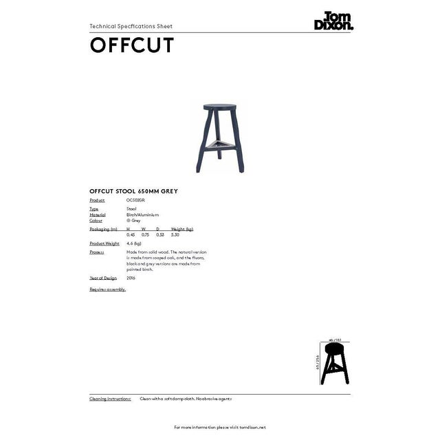 Wood Tom Dixon Offcut Stool Grey For Sale - Image 7 of 7