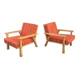California Modern Ranch Oak Lounge Chairs - a Pair For Sale
