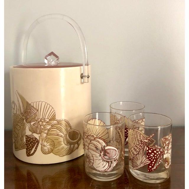 Acrylic Seashell Ice Bucket & Matching Glasses - Set of 4 For Sale - Image 11 of 13