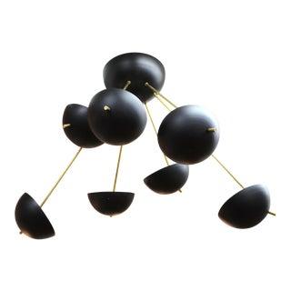Italian Mid-Century Modern Stilnovo Style Sputnik Black Enamel Chandelier For Sale