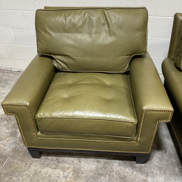 Cabin Swaim Olive Leather Club Chairs - a Pair For Sale - Image 3 of 13