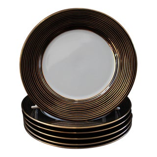 Rondelle Black Bread & Butter Plates by Fitz & Floyd - Set of Six For Sale