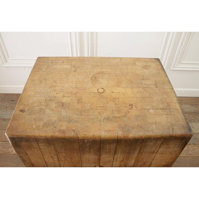 20th Century French European Butcher Block Table For Sale - Image 4 of 10