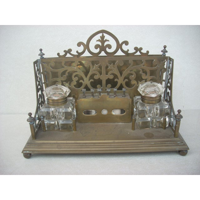 A Brass Desk Caddy With Slot For Letters Doents And Two Crystal Inkwells Which Are Traditional Antique Set