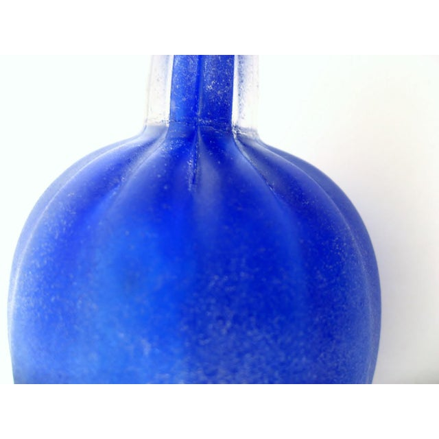 Blown Glass Murano Scavo Glass Bottle For Sale - Image 7 of 8