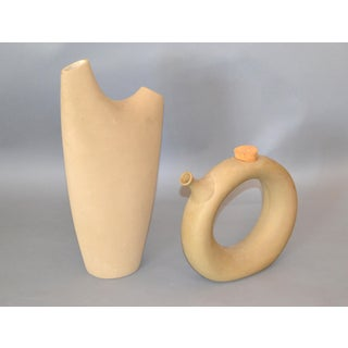 Mid-Century Modern Hartstone Pottery Bisque Ceramic 'The Wine Tote' - Set of 2 Preview