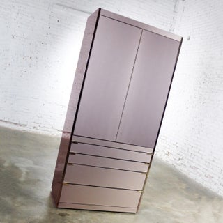Ello Optima Brass and Rose Gray Glass Wardrobe Entertainment Storage Cabinet Preview