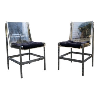 1970s Vintage Italian Lucite & Chrome Chairs - a Pair For Sale