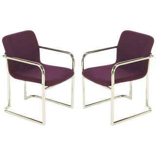Pair of Chrome and Violet Wool Sled Armchairs For Sale
