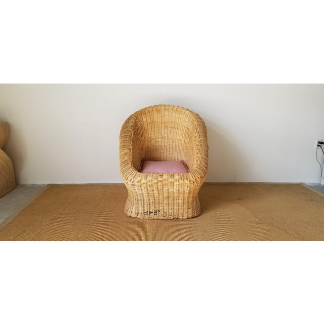 Mid-Century Modern Vintage Woven Wicker Club Chair For Sale - Image 3 of 11
