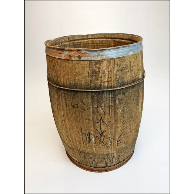 1960s Vintage Rustic Banded Weathered Wood Nail Keg For Sale - Image 5 of 11