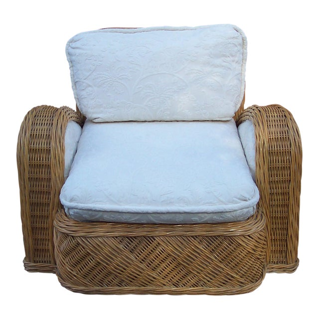 Jay Spectre Rattan Steamer Lounge Chair For Sale