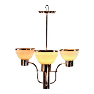 Circa 1930's French Art Deco Chrome and Frosted Glass Fixture For Sale
