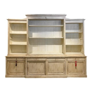 Antique Belgian Vitrine With Glass Front Doors in Antiqued White Painted Finish For Sale