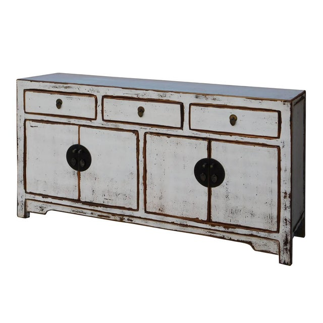 Asian Chinese Distressed Rustic Off White Sideboard Cabinet For Sale - Image 3 of 6
