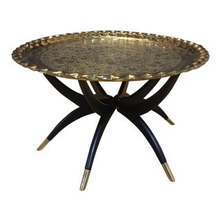 1950s Lacquered Brass Tray Spider Leg Tray Table For Sale