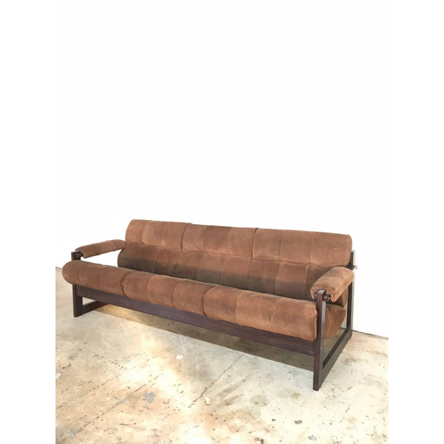 Mid-Century Modern Perceval Lafer Brazilian Rosewood and Suede Sofa For Sale - Image 3 of 7