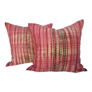 Tribal Handmade Green & Raspberry Pillows - A Pair