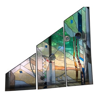 Vintage Custom Trapezoid Lead Stain Glass Windows Triptych For Sale