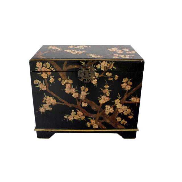 Vintage Mid Century Oriental Hand Painted Black Lacquer Bar Chest For Sale - Image 10 of 10
