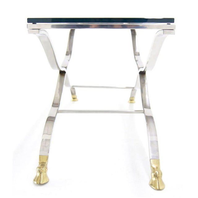 Mid Century Modern Chrome Glass Top Console Table with Brass Hoof-Feet For Sale - Image 4 of 10