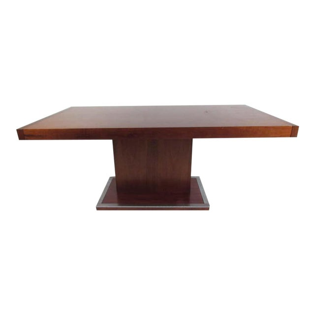Mid Century Modern Walnut Dining Table With A Pedestal Base Chairish
