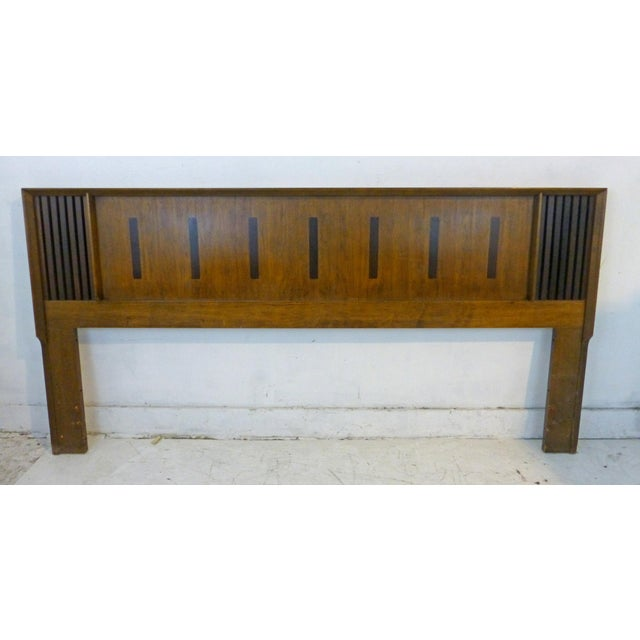 Vintage Lane King Size Ribbed Walnut and Rosewood Headboard Hard to Find - Image 2 of 10