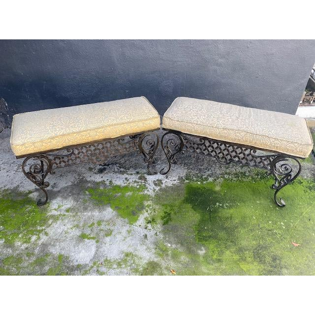 Pair Of 1900's French Iron Benches With Trelice Rosette Motif For Sale - Image 9 of 13
