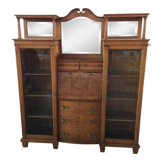 Victorian Side by Side Secretary Desk Bookcase For Sale