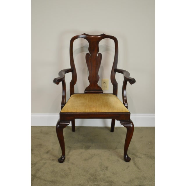 Gold Henkel Harris Queen Anne Style Mahogany Pair of Arm Chairs #110a For Sale - Image 8 of 12