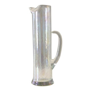Vintage Iridescent Glass Martini Pitcher Mid Century Rainbow Glass For Sale
