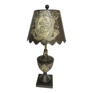 Tole Lamp With Tole Lampshade and French Provincial Design For Sale