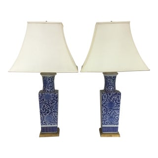 Blue & White Vase Chinoiserie Style Lamps - A Pair