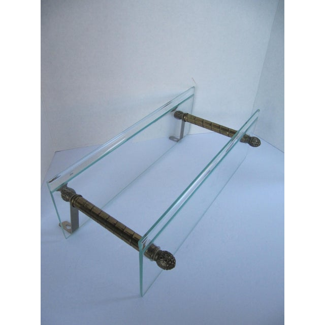 1980s Vintage Glass and Brass Shelf For Sale - Image 5 of 8