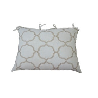 Art Deco Embroidered Quatrefoil Euro King Gray and Gold Fabric Pillow