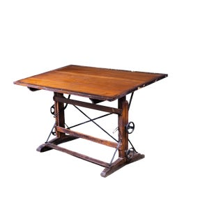 1900s Industrial Wood and Cast Iron Drafting Table For Sale