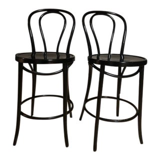 Crate & Barrel Vienna Matte Black Dining Chairs - A Pair For Sale