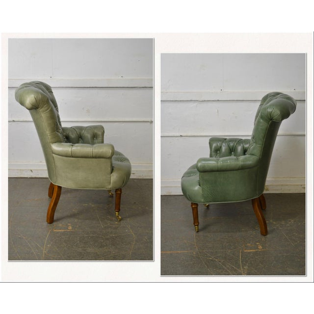 *STORE ITEM #: 17565-fw Regency Style Custom Quality Green Leather Tufted Library Wing Chair AGE / ORIGIN: Approx. 25...