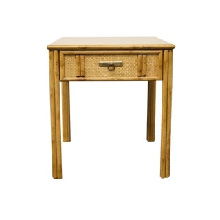 Vintage Mid Century Drexel Captiva Collection Faux Bamboo End Table For Sale