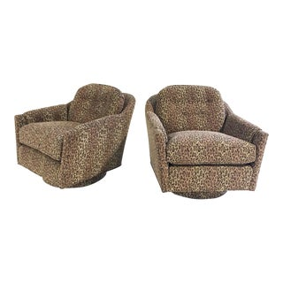 Vintage Milo Baughman Swivel and Tilt Lounge Chairs Restored in Kravet Leopard Print Fabric For Sale