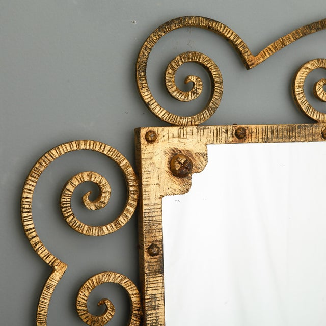 1960s Large Italian Gilt Metal Horizontal Scrollwork Mirror For Sale - Image 4 of 8