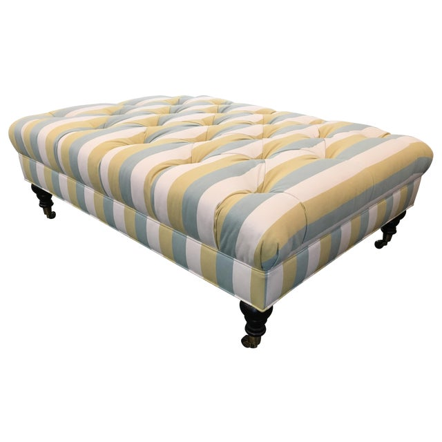 Striped Tufted Ottoman For Sale