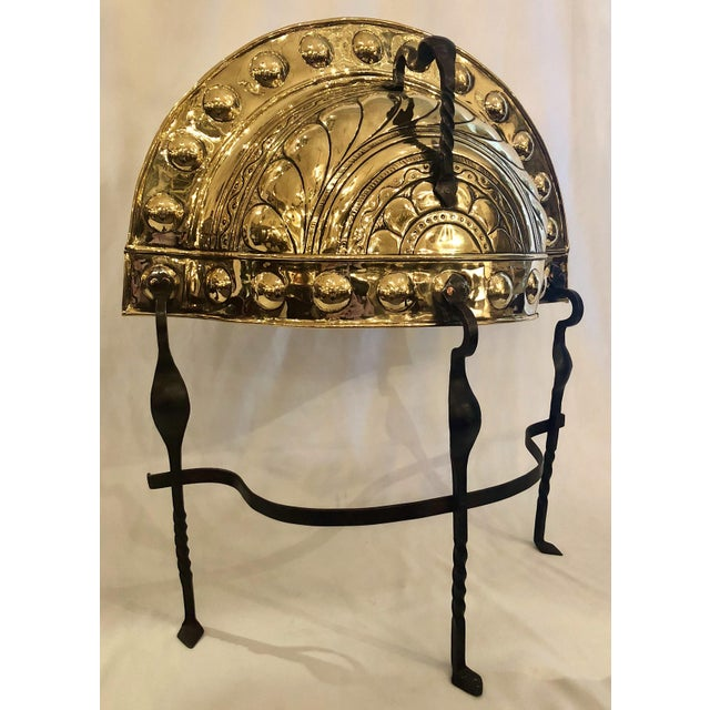 Antique Brass and Hand Wrought Iron Fireplace Curfew, Circa 1840.